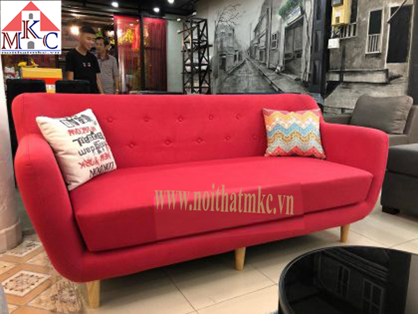 Ghế sofa dài 2m màu đỏ cam