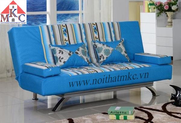 Giường gấp sofa 2in1 màu kẻ xanh
