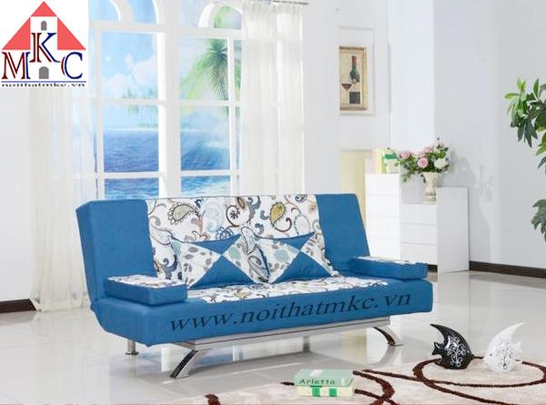 Giường gấp sofa 2in1 màu xanh lam kết hợp hoa