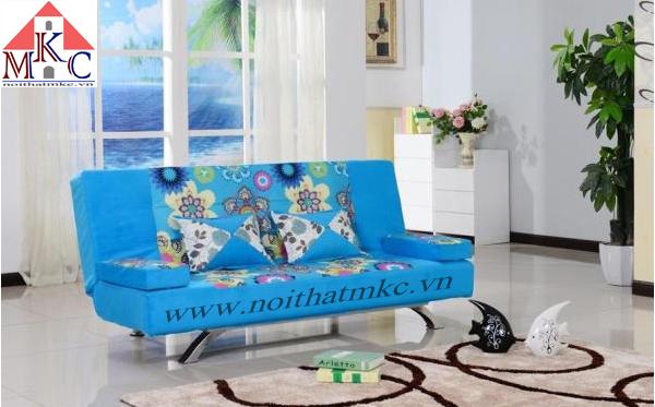 Giường gấp sofa 2in1 màu xanh ngọc kết hợp hoa