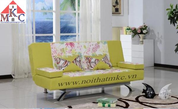 Giường gấp sofa 2in1 màu vàng chanh kết hợp hoa