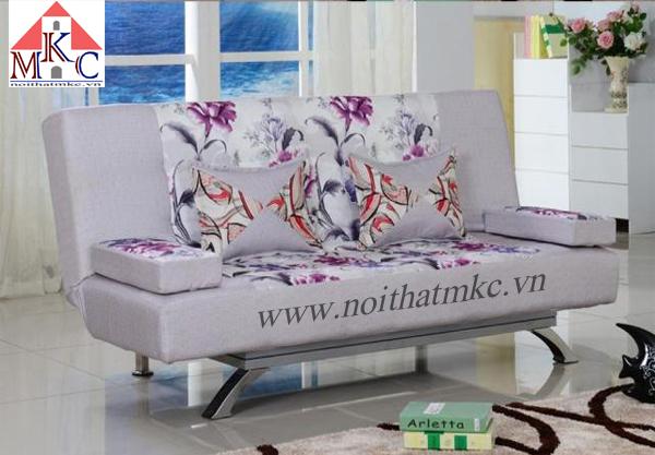 Giường gấp sofa 2in1 màu ghi kết hợp hoa văn