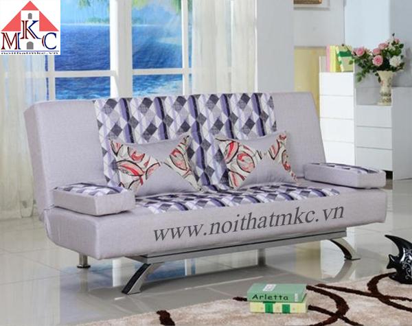 Giường gấp sofa 2in1 màu ghi kết hợp kẻ ô