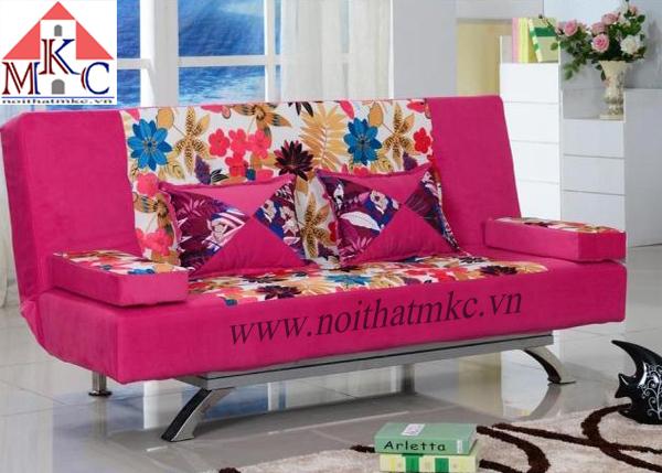 Giường gấp sofa 2in1 màu hồng đậm