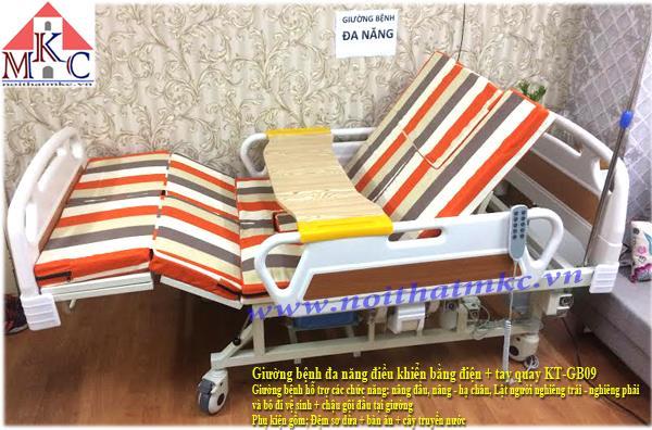 Giường bệnh đa năng MKC-Medical điều khiển bằng điện kết hợp tay quay có 11 chức năng