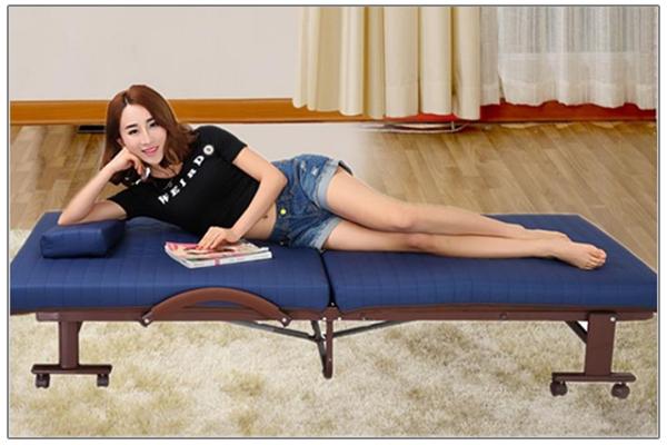 Giường gấp Hàn Quốc RAKU BED rộng 75cm màu xanh