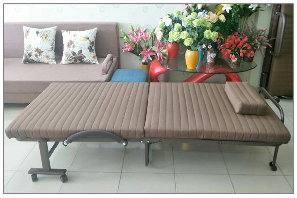Giường gấp Hàn Quốc RAKU BED rộng 65cm màu nâu