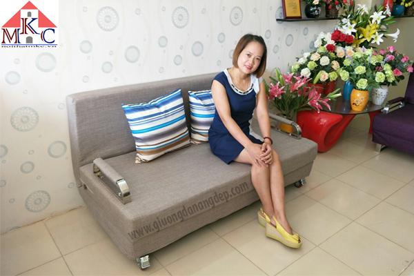 Sofa giường 2in1 rộng 1,2m màu nâu